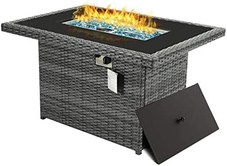 44.1'' Outdoor Patio Propane Fire Pit Table Gray PE Wicker Firepits 55,000 BTU Auto-Ignition Doube Pipes 8mm Tempered Glass Tabletop Blue Stone,CSA Certification Gray-44.1'' without Wind Gla