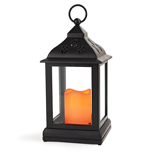 """Bright Zeal Vintage Candle Lanterns with LED Flickering Flameless Candles (BLACK, 10"""" TALL, 8hr Timer, Battery Included) - Indoor Hanging Lights - Decorative Candle Lanterns 1201N"""