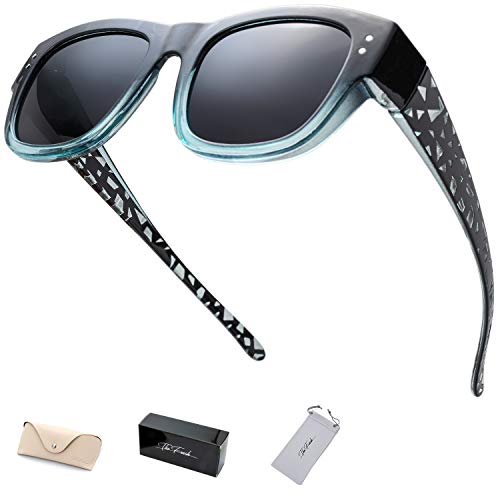 The Fresh High Definition Polarized Wrap Around Shield Sunglasses for Prescription Glasses - Gift Box Package (613-Crystal Black/Blue, Grey)