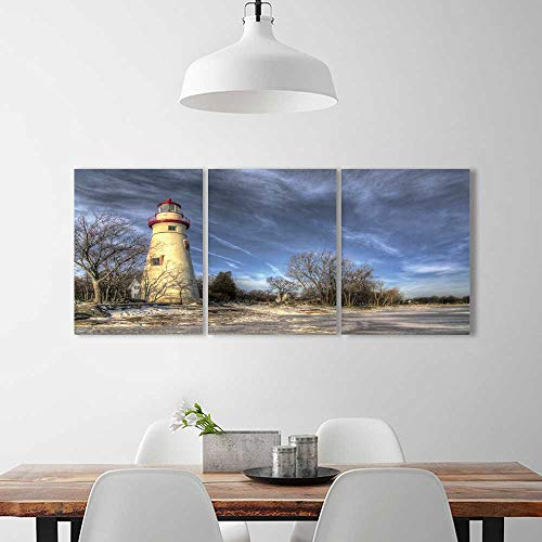 Philiphome 3 Pieces Modern Wall Art Decor Frameless the historic marblehead lighthouse in northwest ohio sits along the rocky Home Print Decor Living Room W12 x H16 x ()