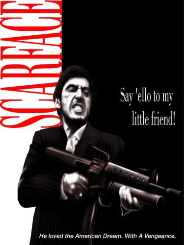 Scarface Movie Poster Mini Metal Sign Say Hello To My Little Friend