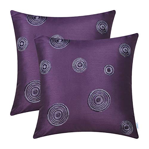 CaliTime Pack of 2 Cushion Covers Throw Pillow Cases Shells Sofa Couch Home Decoration 18 X 18 inches Modern Random Circles Rings Geometric Chain Embroidered Purple