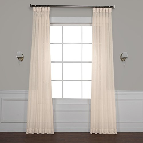 - Half Price Drapes Shch-SS071611-84 Solid Faux Linen Sheer Curtain, 50 X 84, Cotton Seed