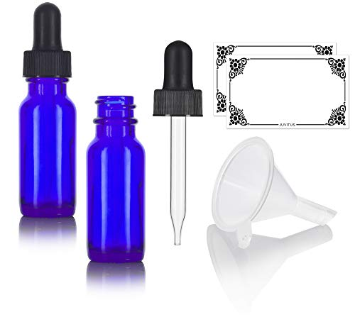 Cobalt Blue 0.5 oz / 15 ml Glass Boston Round Dropper Bottle (2 Pack) + Funnel and ()