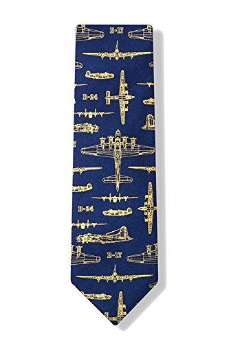 100% Silk Blue Flying Fortress WWII Bomber Military Airplane Fighter Jets Tie Necktie (Ties Silk Alynn Blue Novelty)