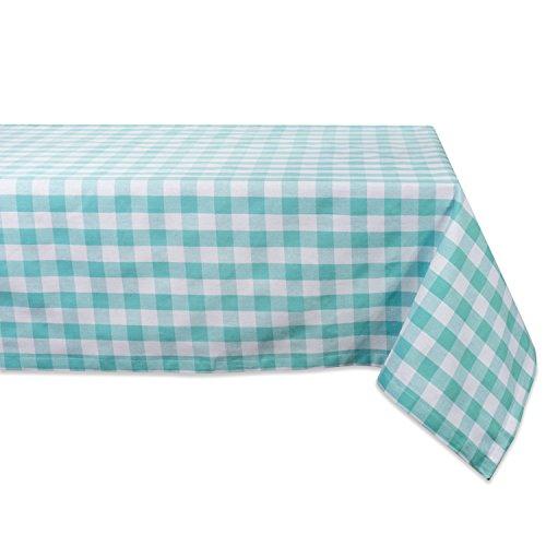 DII 100% Cotton, Machine Washable, Dinner, Summer & Picnic Tablecloth, 52 x 52, Aqua & White Check, Seats 4 People