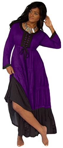 Lotustraders Empire Line Laced Bodice Long Sleeve Dress U437 (3X, Purple Black) (Bodice Laced)