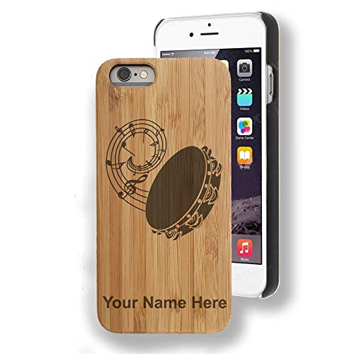 Bamboo case Compatible with iPhone 7 Plus and iPhone 8 Plus, Tambourine, Personalized Engraving Included