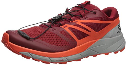 Salomon Men's Sense Ride 2 Trail Running Shoes, Red Dahlia/CHERRY TOMATO/Quarry, 7