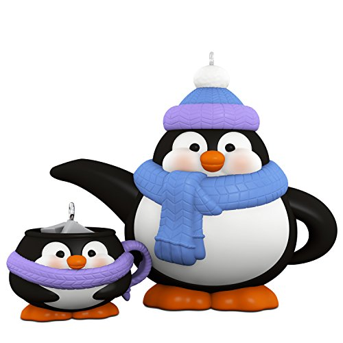 Hallmark Keepsake 2017 Tea Time! Penguin Teapot and Teacup Porcelain Christmas Ornaments, Set of 2 ()