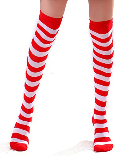 Women's Extra Long Striped Socks Over Knee High Opaque Stockings (Red & White)
