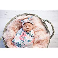 Peach Floral Newborn Swaddle Set