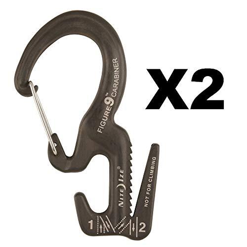 Nite Ize Figure 9 Carabiner Small Rope Tightener Aluminum Tie Down Tool (2-Pack)