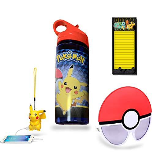 Retail Sales Solutions LLC Pokemon Trainer Survival 4 Piece Gift Bundle (Pokemon Water Bottle, Magnetic to-do List, Pikachu Electronic Battery Pack and Trainer Sunglasses) -