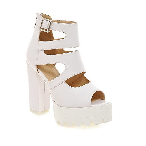 Amoonyfashion Mujeres Zipper High-heels Pu Sandalias Peep-toe Sólidas Blanco