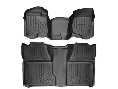 2013-2014 Chevrolet Silverado Crew Cab 2500HD / 3500HD Black WeatherTech Floor Liners (Full Set: 1st & 2nd Row / 1st row is Over The Hump) [For models without 4x4 Manual Floor Shifter]