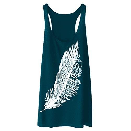 (Qingell-Summer Women Sleeveless Feather Print Shirt Casual Loose Tank Top Soft Comfortable Fitness Tops)