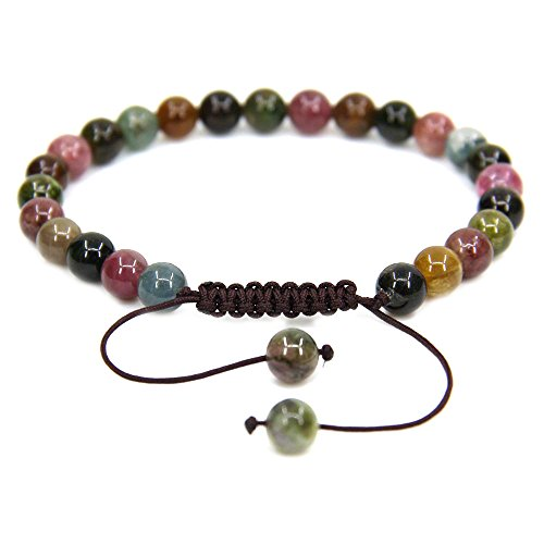 Blue Tourmaline - Natural AA Grede Multicolor Tourmaline Gemstone 6mm Round Beads Adjustable Bracelet 7