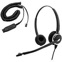 Best Headset for Avaya 1416, 2420, 4610, 5420, 5620, 9406, 9508 - Plantronics compatible QD Pro Binaural Headset + Avaya HIC Headset Cord