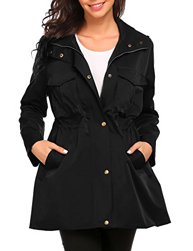 Opino Womens Loose Travel Zip Pocket Button Windproof Hiking Trench Coat XXL Black Shirt Jacket
