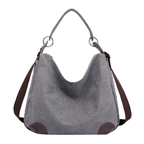 Lonson Women's Canvas Hobo Totes Bags Casual Shoulder Bag Travel Handle Handbag (Grey) by Lonson