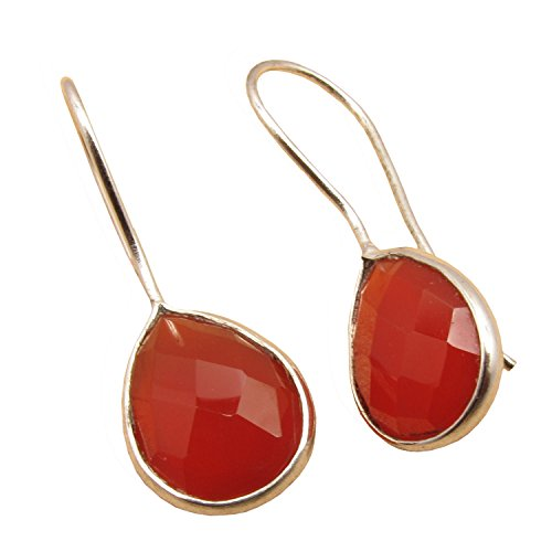 (925 Sterling Silver Plated Natural Gemstones Highly Polished Teardrop Earrings ! Birthstone Fashion)