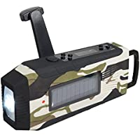 Weather Radio,OUTERDO Dynamo Emergency Survival Solar Hand Crank Self Powered AM/FM/NOAA Emergency Radio, LED Flashlight,Phone Charger Power Bank with Cables (4 color to choose) camouflage