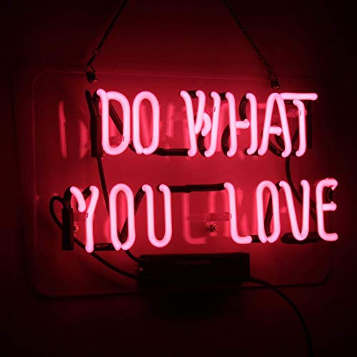 Neon Sign Do What You Love Pink Neon Light Glass Night Light for Kids Bedroom Office Bar Christmas Party Decor Wall Light 14 x 9 Inch (Love You Sign Do What)