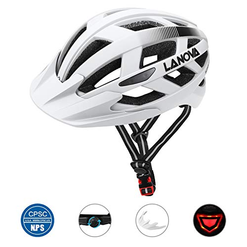LANOVAGEAR Bike Helmet for Youth Adult CPSC Certified Adjustable Helmet with Rechargeable LED Light Detachable Visor for Mountain Road Bicycle