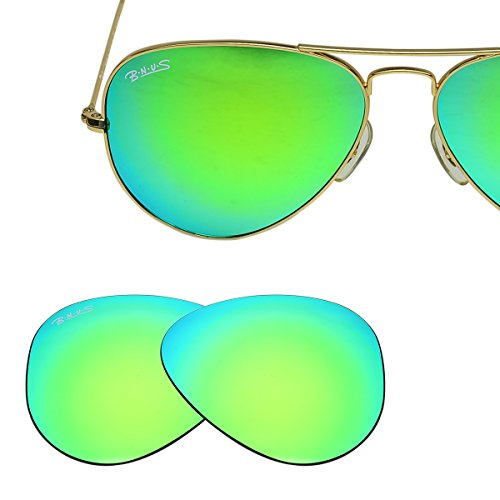 Bnus Replacement Lenses for Ray-Ban RB3025 58mm Sunglasses(Green Flash-Non-Polarized)