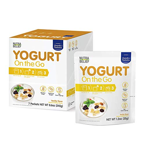 YOGURT ON THE GO | Vanila Flavor | On the go | Yogurt | Probiotics | Diet | Breakfast | Healthy Snack | Dessert | Balance | Natural Sweetener | 7 Packets | 7 Day