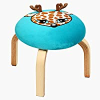 Decinysea Modern Cartoon Round Foot Stool, Padded Home Wooden Low Footrest Stool with Classic Tufted Velvet Textile Fabric Seat Blue Chair, Soft Cushion Ottoman for Adults/Kids/ Children (Sika Deer)