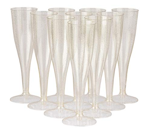 (Plastic Champagne Glass - 100-Pack Clear Disposable 4.4-Ounce Toasting Flutes, Gold Glitter Design, Elegant Party Supplies for Birthday, Wedding, Bridal Shower, Christmas, New Year)