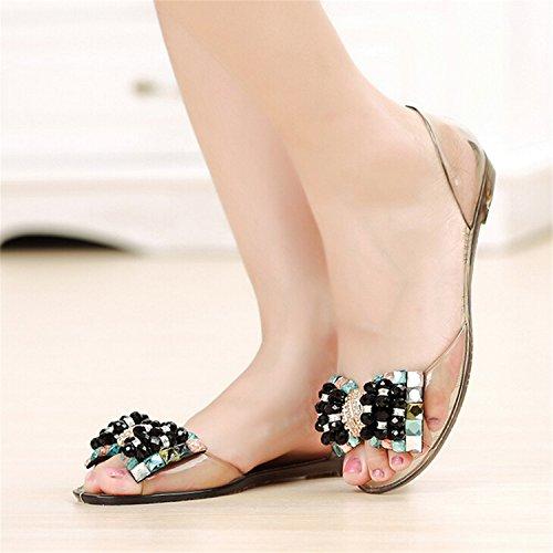 40 Sandals Ladies 1 Robert Shoes Xwz3283 Toe 35 Bling Summer Peep Style Bowtie Flats Size Westbrook Women Woman Black ECw4RC7Zq