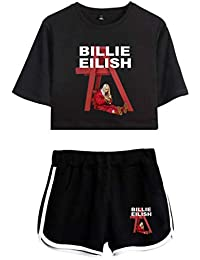 Eudolah Girls' Casual Sweat Suit Billie Eilish Summer T-Shirt Sets 2pc Tops and Shorts Pajama Sets