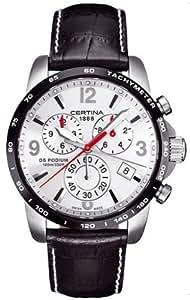 Certina DS Podium C001.617.26.037.00 - Reloj cronógrafo de cuarzo para hombre, correa de cuero color negro (cronómetro)
