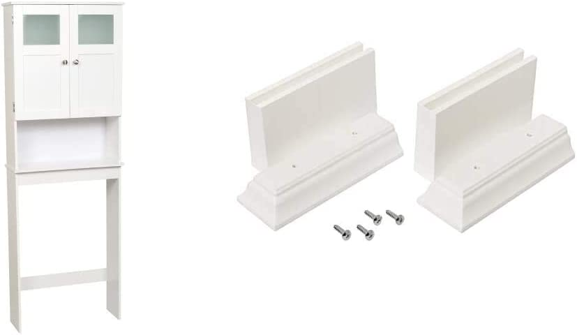 Zenna Home Over The Toilet Bathroom Spacesaver, Bathroom Storage with Glass Windows, White & Home Kit Leg Extension, White