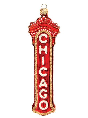 Chicago Marquee Polish Glass Ornament