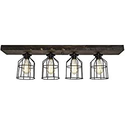 West Ninth Vintage Flush Wood Mount Ceiling Light | Perfect Indoor Farmhouse Home Decor W/Light cages
