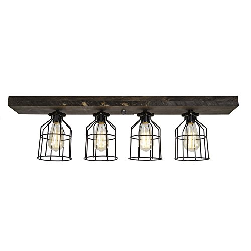West Ninth Vintage Flush Wood Mount Ceiling Light - Perfect Indoor Farmhouse Home Decor with Metal Cages - Ideal for Your Dream Kitchen