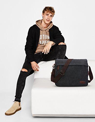 poches Fandare B Capacité Hommes Fashion Brown Grande Sac Bandoulière Bag Shoulder Crossbody Envelope Voyage Respirant Toile À Noir A Commerce Multi rprq6wR