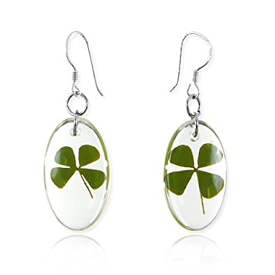 Four Leaf Clover Earrings - Sterling Silver - Dark Green dUO3JNm
