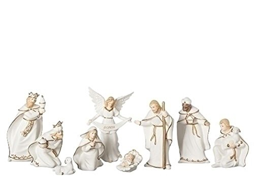 9 Piece Set of 6'' Ivory and Gold Inspirational Porcelain Nativity Figure by Roman