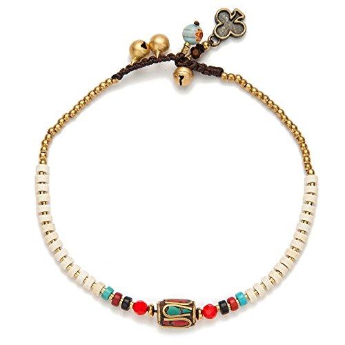 (TOMLEE Beaded Rope Anklet Boho Handmade Wax Rope Braided Ankle Bracelet, Nepal Stone Charm Anklets)