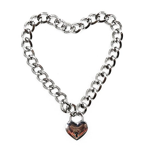 EDTara Women Punk Cool Neck Collar Slave Game Pet Heart-Shape Ring Padlock Metal Choker Necklace
