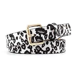 SGJFZD Fashion Leopard Spotted Horsehair Decorative Belt Fashionable Women's Retro Wild Pin Buckle Belt (Color : White, Size : 105 * 2.5cm)