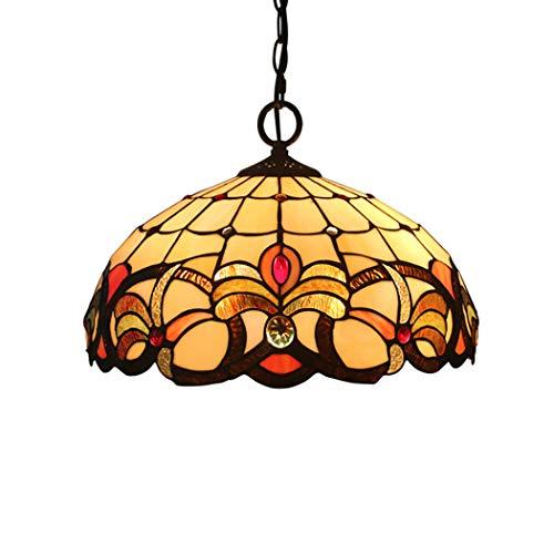 (16 '' Tiffany Style Pendant Lamp European Baroque Handmade Stained Glass Shade 3 Light Bedroom Restaurant Study Chandelier,E27,110~240V)
