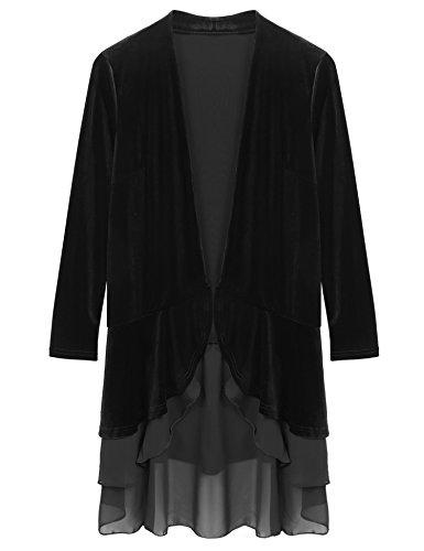 Zeagoo Women Extra LongRuffle Asymmetric Velvet Cardigan Coat and Jackets Black Small
