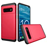 Cyhulu Samsung Galaxy Phone S10 Plus Case, Hot New Brushed Hard PC+Silicone Case Cover Card Holder for Samsung Galaxy S10 Plus 6.4 inch, 11 Color Available (Red, One size)