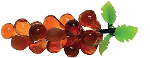 StealStreet GRAPE-PEACH-S Peach Colored Small Glass Grapes on Branch with Green - Glasses Peach Colored